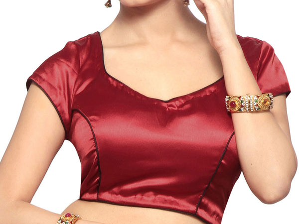 Maroon Color Short Sleeve V Neck Style Blouse  Radymade Satin Blouse From West Bengal - PWBBI30OT17