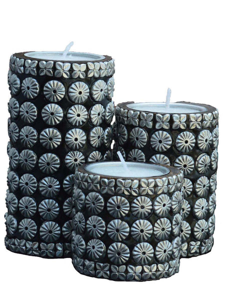 Black & Silver Cylindrical Candle Stand Set Of 3-EC-HJRWE1SP56