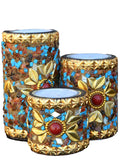Set Of 3 Wooden Jewelled Tea Light Holder-EC-HJRWE23FB26