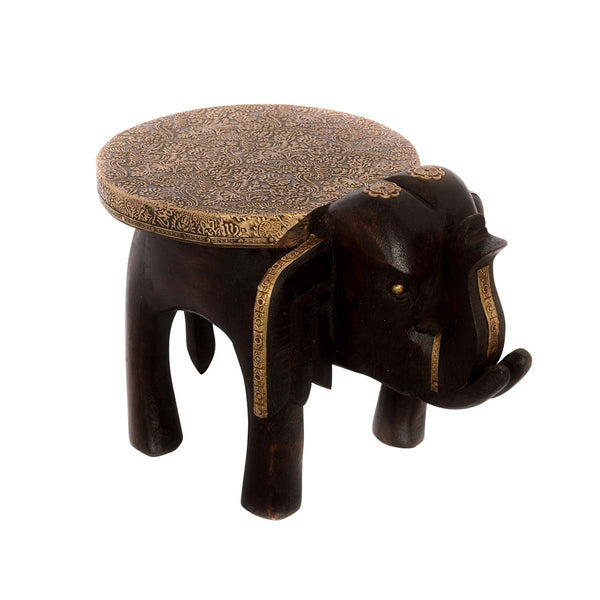 Multutility Wooden Elephant Stool for Decoratives - EC-HJRWE3AG275
