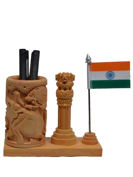 Wooden Pen Stand With Ashoka Pillar And National Flag-EC-HJRWE1SP63