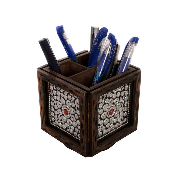 Jewelled Rotatory Wooden Pen Stand - EC-HJRWE3AG290