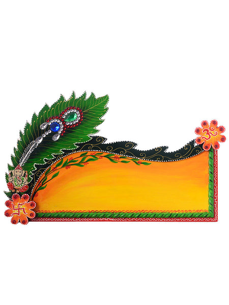 Peocock Feather Papier-Mache Wooden Nameplate - EC-HJRME24MA345