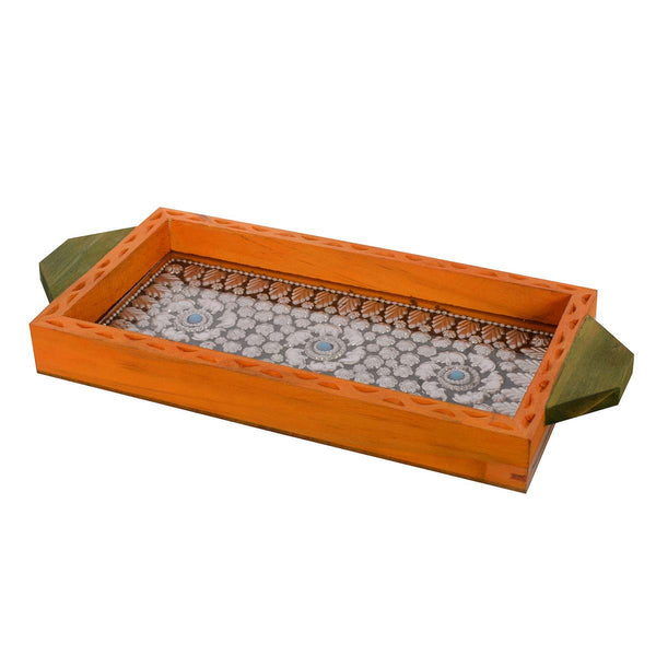 Multipurpose Jewelled Orange Wooden Utility Tray - EC-HJRWE3AG293