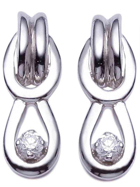 92.5 Sterling Silver Hangings Earrings With Swarovski Zirconia -ZI-CHUJE25MH1