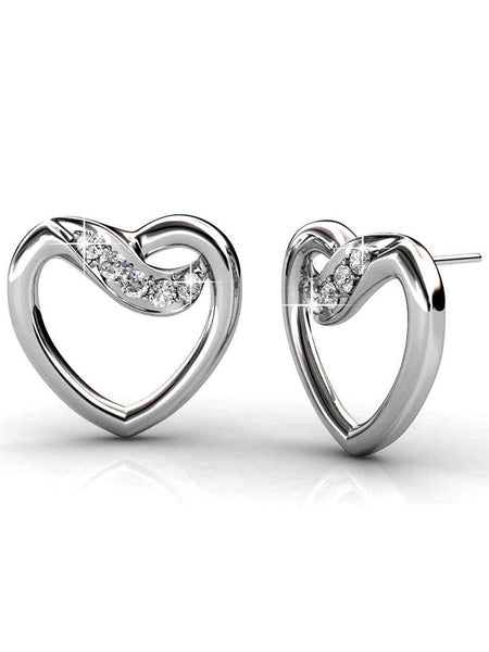 92.5 Sterling Silver Stud Earrings With Swarovski Zirconia -ZI-CHUJE25MH9