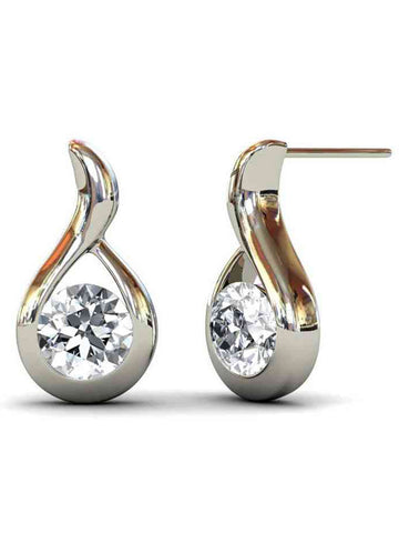 92.5 Sterling Silver Drop Earrings With Swarovski Zirconia -ZI-CHUJE25MH10