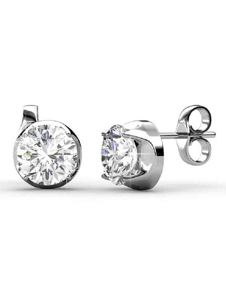92.5 Sterling Silver Stud Earrings With Swarovski Zirconia -ZI-CHUJE25MH12