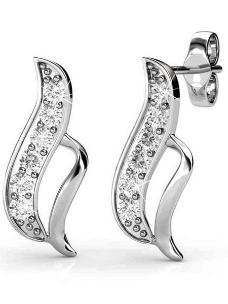 92.5 Sterling Silver Stud Earrings With Swarovski Zirconia -ZI-CHUJE25MH15