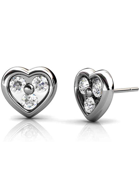 92.5 Sterling Silver Stud Earrings With Swarovski Zirconia -ZI-CHUJE25MH16