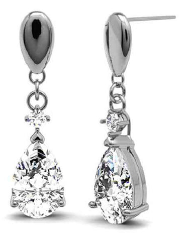 92.5 Sterling Silver Drop Earrings With Swarovski Zirconia -ZI-CHUJE25MH17