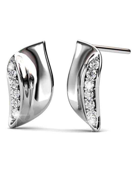 92.5 Sterling Silver Stud Earrings With Swarovski Zirconia -ZI-CHUJE25MH24