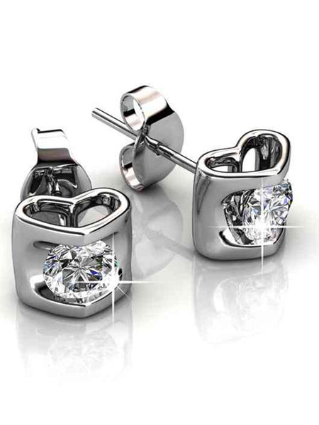 92.5 Sterling Silver Stud Earrings With Swarovski Zirconia -ZI-CHUJE25MH25
