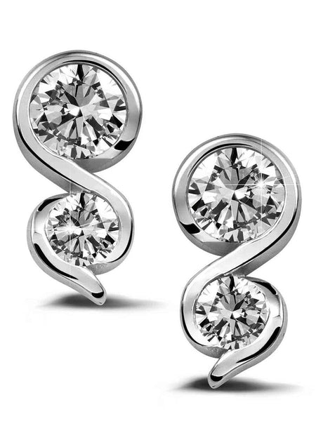 92.5 Sterling Silver Stud Earrings With Swarovski Zirconia -ZI-CHUJE25MH38