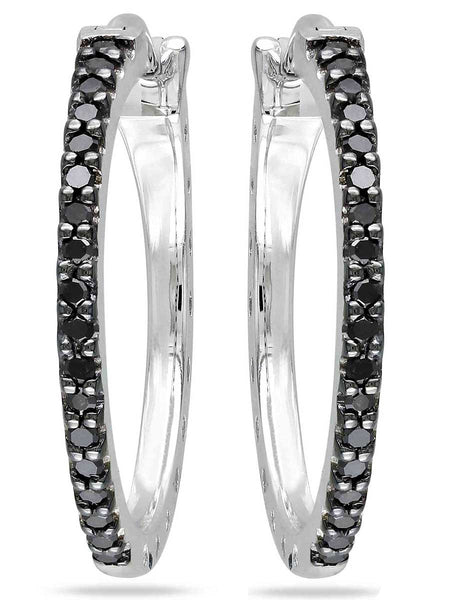 92.5 Sterling Silver Hoop Earrings With Swarovski Zirconia -ZI-CHUJE25MH47