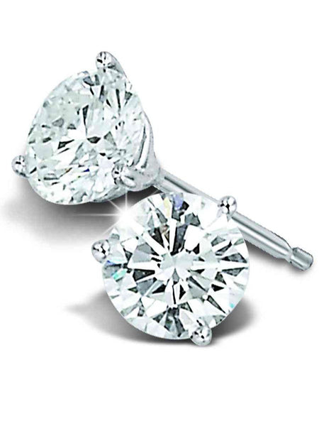 92.5 Sterling Silver Stud Earrings With Swarovski Zirconia -ZI-CHUJE25MH91