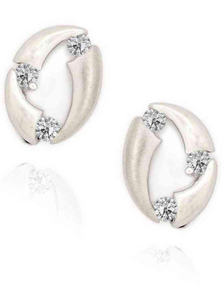 92.5 Sterling Silver Stud Earrings With Swarovski Zirconia -ZI-CHUJE25MH105
