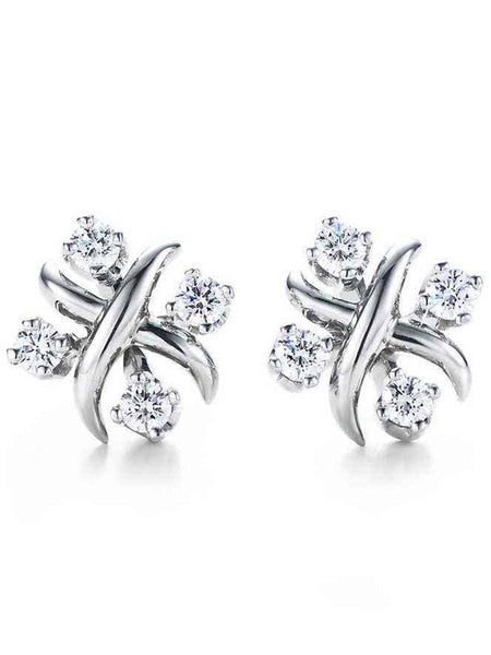 92.5 Sterling Silver Stud Earrings With Swarovski Zirconia -ZI-CHUJE25MH106