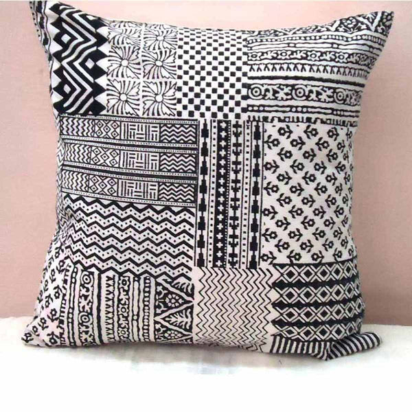 Set of 5 Block Printed Cotton Cushion Cover From Jaipur In Black & White - SM-CDDC3MR1