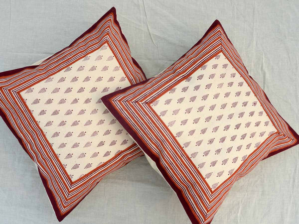Set of 5 Block Printed Cotton Cushion Cover From Jaipur In MultiColour  - SM-CDDC3MR3