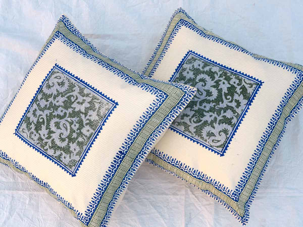 Set of 5 Block Printed Cotton Cushion Cover From Jaipur In MultiColour  - SM-CDDC3MR13