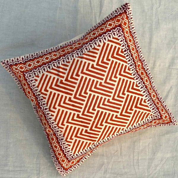 Set of 5 Block Printed Cotton Cushion Cover From Jaipur In MultiColour  - SM-CDDC3MR15