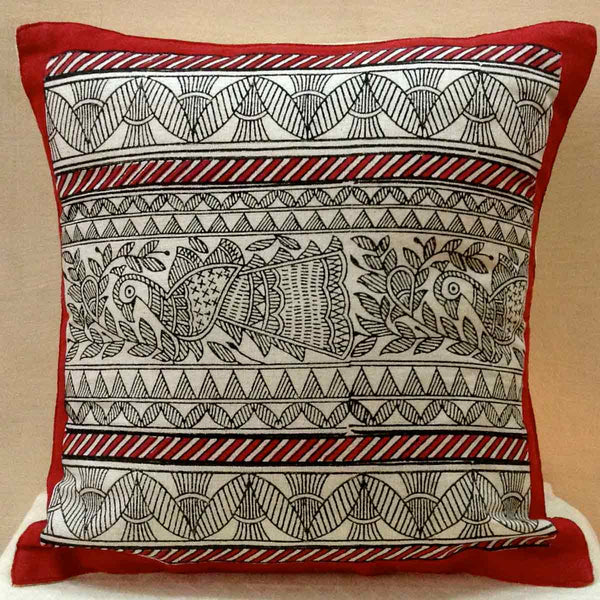 Set of 5 Block Printed Cotton Cushion Cover From Jaipur In MultiColour - SM-CDDC3MR25