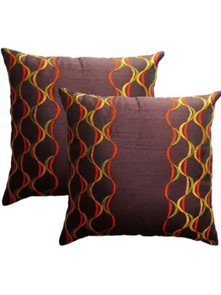 Pack Of 2 Abstract Cushions Cover In Brown - DKCC25AP37