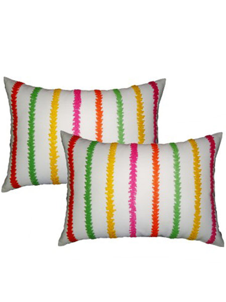 Pack Of 2 Embroidered Cushions Cover In Multicolor - DKCC25AP34