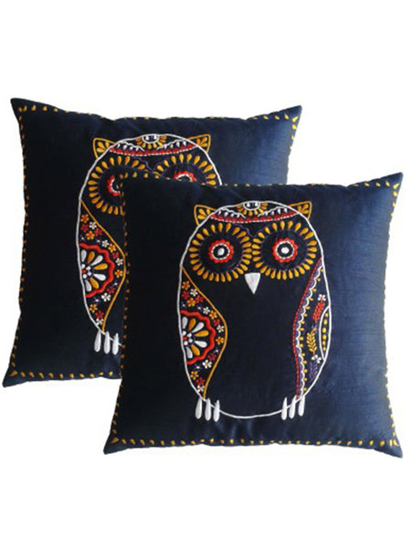 Pack Of 2 Embroidered Cushions Cover In Black - DKCC25AP40