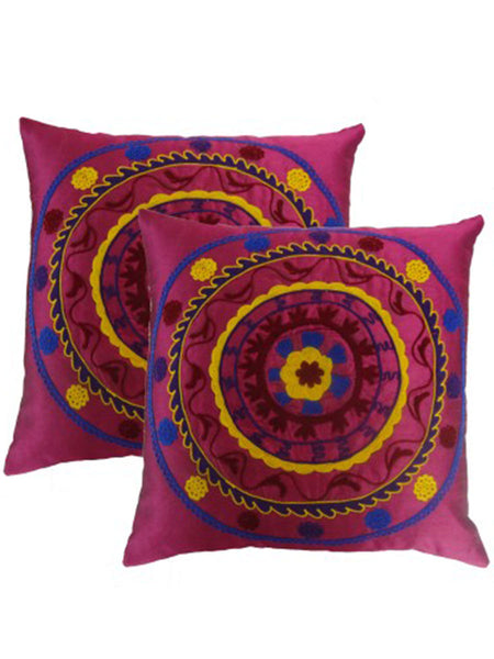 Pack Of 2 Embroidered Cushions Cover In Multicolor - DKCC25AP59