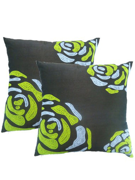 Pack Of 2 Embroidered Cushions Cover In Multicolor - DKCC25AP38