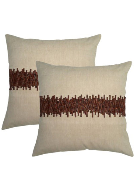 Pack Of 2 Embroidered Cushions Cover In Brown - DKCC25AP31
