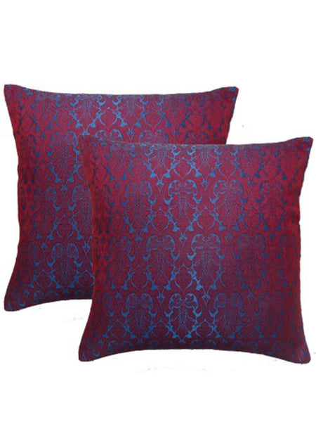 Pack Of 2 Damask Cushions Cover In Purple - DKCC25AP60
