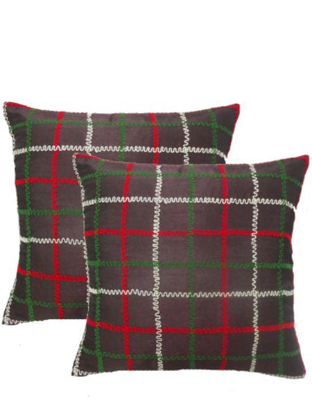 Pack Of 2 Checkered Cushions Cover In Multicolor - DKCC25AP24