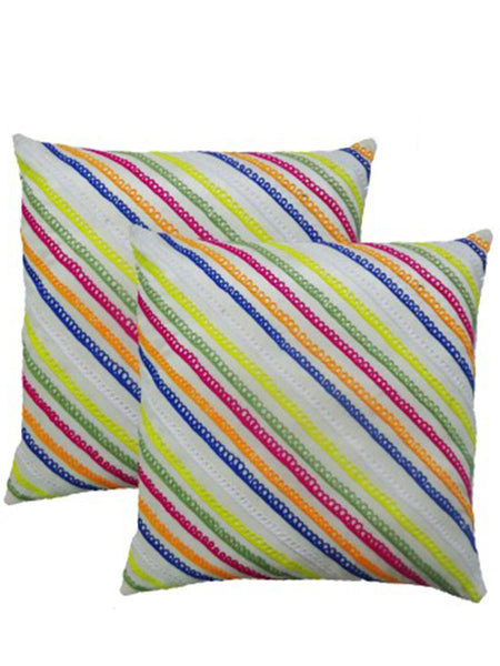 Pack Of 2 Embroidered Cushions Cover In Multicolor - DKCC25AP62