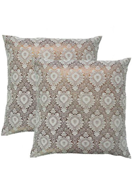 Pack Of 2 Damask Cushions Cover In Gold-White - DKCC25AP27