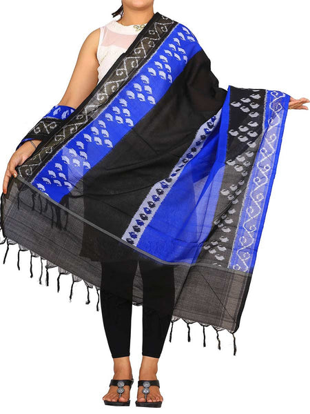 Black And Blue Ikat Handloom Cotton Dupatta - GS-CIHD26AG1