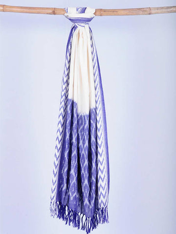 Blue And White Ikat Cotton Handloom Dupatta - GS-CIHD26AG11