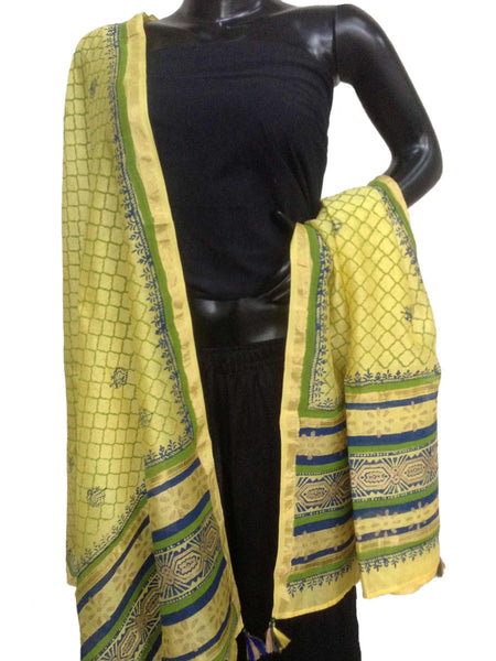 Chanderi Dupatta From Madhya Pradesh In Green - SSCMD8JN4