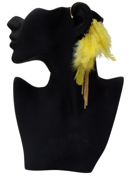 Braas Ear Cuffs From Moradabad In Yellow - CHUJE13AG2