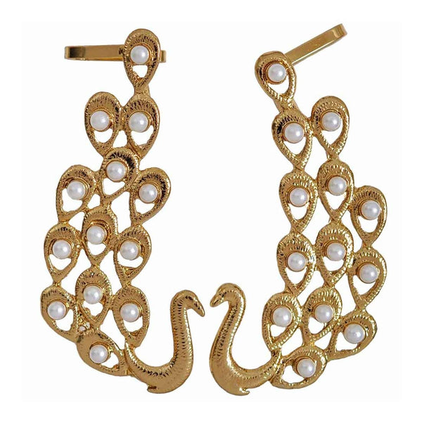 Lively White Gold Pearl Sangeet Cuff Earrings - MCHUJE24DC8