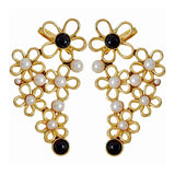 Artistic Black White Pearl Wedding Cuff Earrings - MCHUJE24DC11