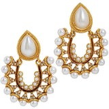 Darling White Brown Pearl Sangeet Chand Bali Earrings - MCHUJE24DC38