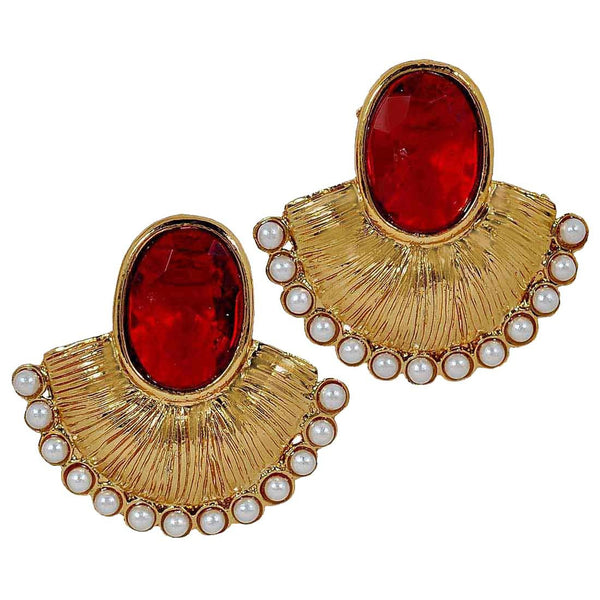 Gorgeous Red Gold Pearl Reception Stud Earrings - MCHUJE24DC39