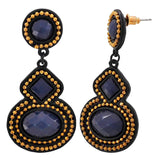 Lively Blue Gold Designer Cocktail Drop Earrings - MCHUJE3DC8