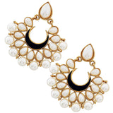 Smart White Black Pearl Ceremony Chand Bali Earrings - MCHUJE24DC55
