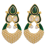 Lively Green White Pearl Wedding Drop Earrings - MCHUJE24DC61