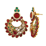 Graceful Wine Green Stone Work Festival Chand Bali Earrings - MCHUJE24DC62