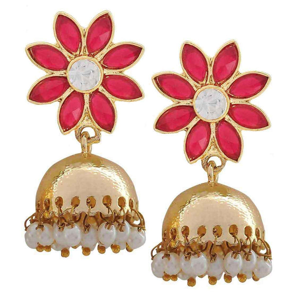 Artistic Magenta Gold Stone Work Reception Jhumki Earrings - MCHUJE24DC64